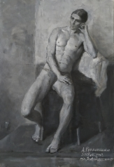 2019, grisaille, oil on canvas 60x80cm