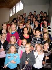 Musiikkiopiston entisiä ja nykyisiä huilisteja Tutti Flutti - huiluorkesterin tapaamisessa Äänekoskella 27.1.2012-28.1.2012