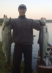 Salmon fishing in River Muonio