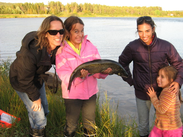 Family salmon fishing trip in Finland