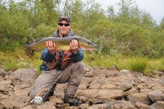 Flyfishing for pike, Lapland, Finland