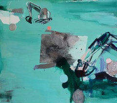 Telaketjuhelmet (2010), 140 cm x 160 cm, akryyli ja öljy kankaalle, myyty.