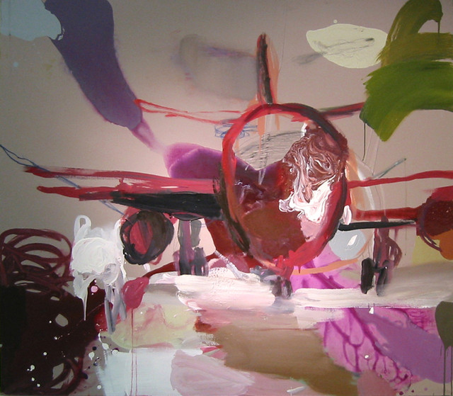 Maan kamaralla (2006), 140 cm x 160 cm, akryyli, kynät ja öljy kankaalle, myyty.