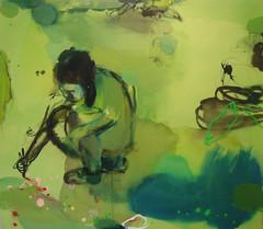 Vihreä keidas (2006), 140 cm x 160 cm, akryyli, muste ja öljy kankaalle, myyty.