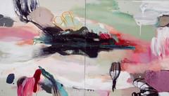 Hyppy (2006), 160 cm x 280 cm, akryyli, hiili ja öljy kankaalle. Kumpulan tiedekirjasto.