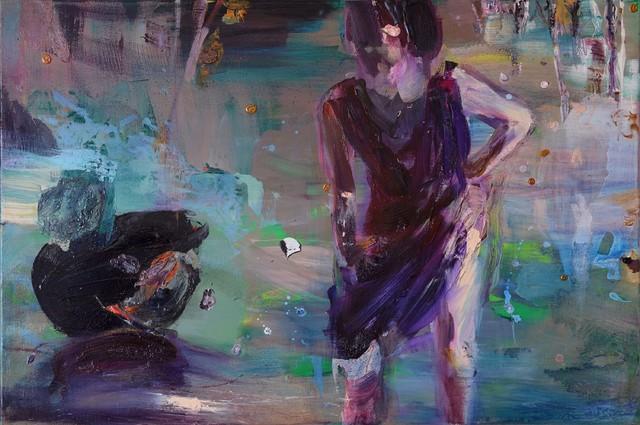 Säihkenäyttämön tyttö (2012), 80 cm x 120 cm, akryyli ja öljy kankaalle. Myyty.