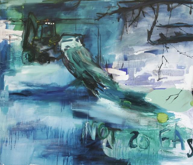 Not so easy (2009), 140 cm x 160 cm, akryyli ja öljy kankaalle, myyty.
