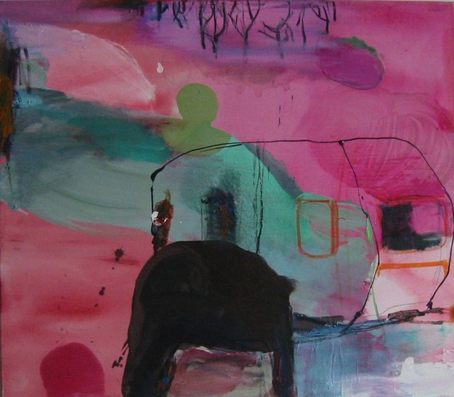 Tilapäinen (2009), 70 cm x 80 cmm akryyli, hiili ja öljy kankaalle, myyty.