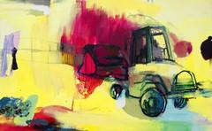 John Deeren vihreeä (2009), 95 cm x 150 cm, akryyli, kynät ja öljy kankaalle. Paulon säätiö.