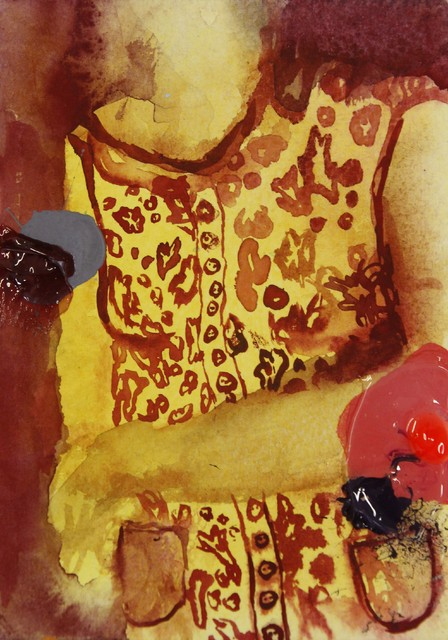 "Sarjasta: ""Metamorfoosi"" (2012), 14,5 cm x 10 cm, sekatekniikka paperille."