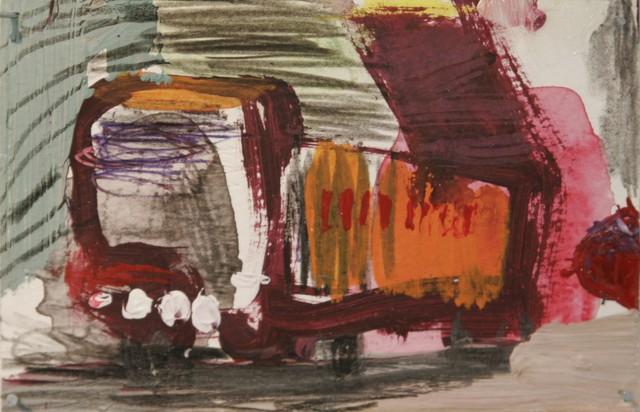 "Sarjasta. ""Kerros kerrokselta"" (2009), 10 cm x 15 cm, sekatekniikka paperille."