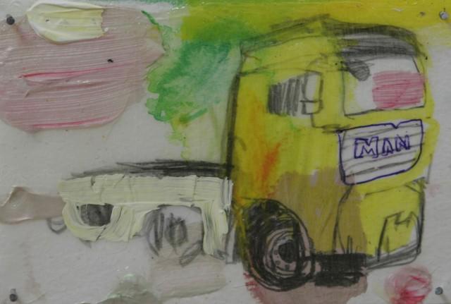 "Sarjasta. ""Kerros kerrokselta"" (2009), 10 cm x 15 cm, sekatekniikka paperille, myyty."