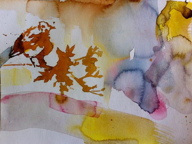 Lintuvariaatio (2014), 30 cm x 40 cm, akvarelli