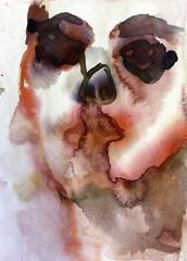 """Sarjasta: """"Omakuvia"""" (2010 - 2014), n. 24 x 17 cm, akvarelli."""
