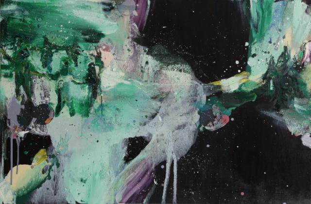 Satumetsä (2014), 96 x 150 cm, akryyli ja öljy kankaalle. Myyty.