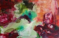 Sylissä (2014), 105 x 160 cm, akryyli ja öljy kankaalle.