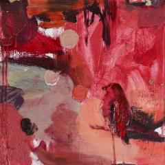 Punainen puutarha I (2014), 50 x 50 cm, öljy MDF-levylle. Myyty.