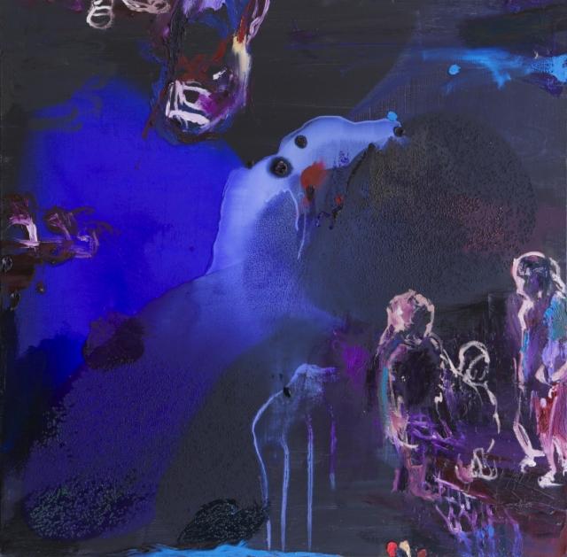 Sukupolvet (2014), 88 x 86 cm, arkyyli ja öljy kankaalle.