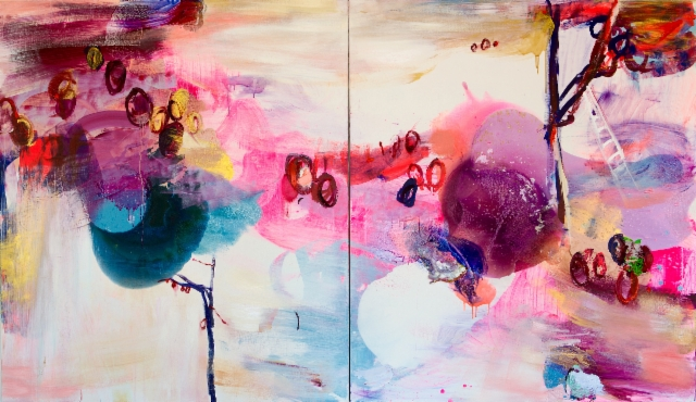 Sadonkorjuu (2015), 150 x 260 cm, akryyli ja öljy kankaalle. Myyty.
