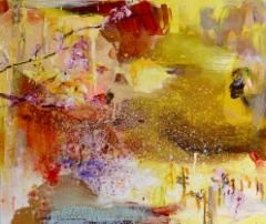 Kukkiva luumpuu (2015), 110 x 120 cm, akryyli ja öljy kankaalle. Myyty.