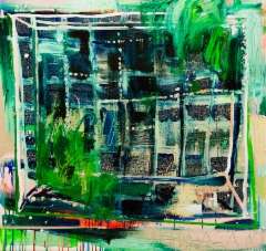 Villiintynyt maali (2018), 95 x 100 cm, akryyli ja öljy kankaalle. Myyty.