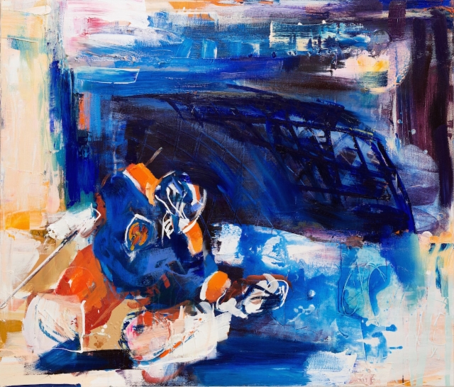 Räpsä (2018) 120 x 140 cm, akryyli ja öljy kankaalle.