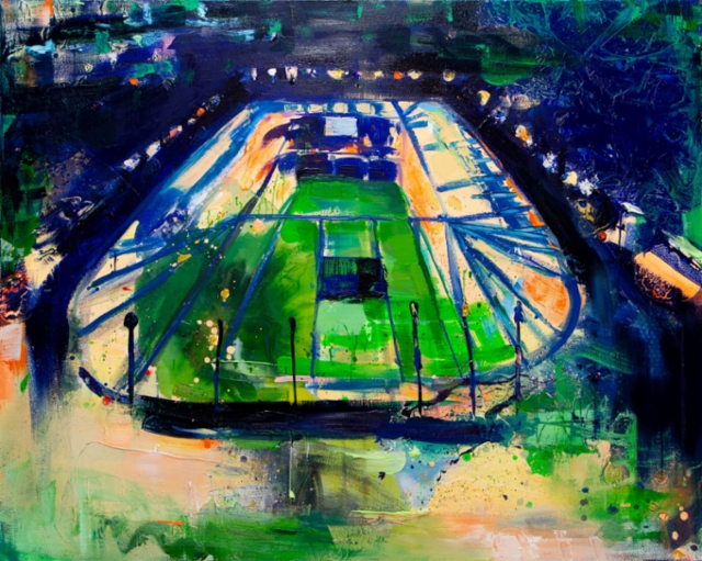 Miniworld (stadium), 2019, 120 x 140 cm, akryyli ja öljy kankaalle.