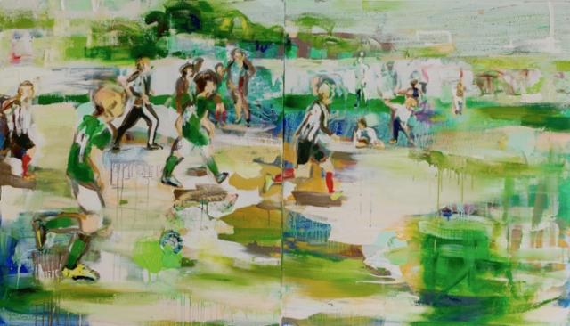 Turnaus II (2019), 150 x 260 cm, akryyli ja öljy kankaalle.
