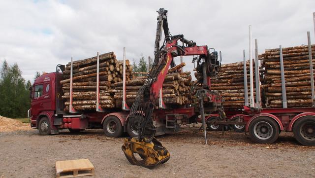 Alumiinipankkoiseen vertailuyhdistelmään lastattiin XXL 8.8 kuormatilassa olleesta kuormasta ne puut, jotka alupankoille mahtuivat.