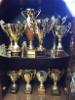 Kai Sirénin Puunkuormaajamestari palkintopokaaleita - ylähyllyllä kuusi mestaruuspokaalia ja alahyllyllä hopeat ja pronssit - vastaavaa kokoelmaa ei löydy mistään