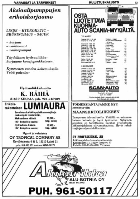 Alukarikka - Alu-Botnia Oy, Maxmo - mainos historian ensimmäisessä Konepörssissä 1/1981 - 35 vuotta sitten