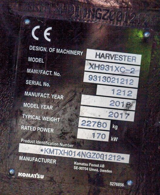 Komatsu 931XC harvesteri on kokoisekseen kevyt kone