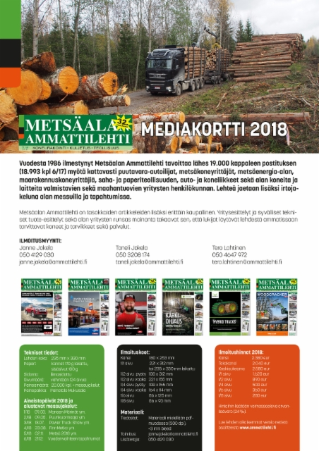Metsäalan Ammattilehti - Mediatiedot 2018