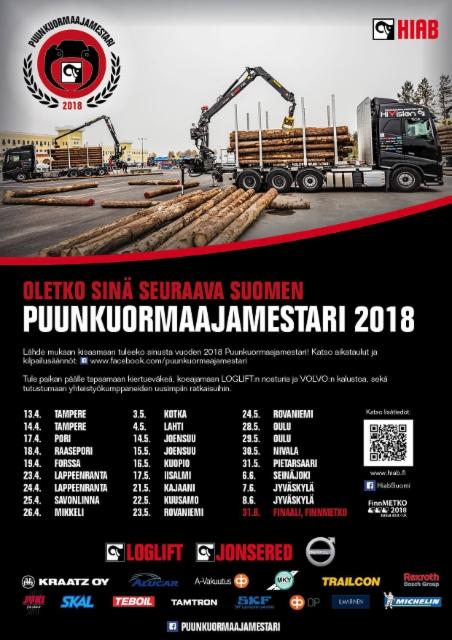 Puunkuormaajamestari 2018 kilpailun aikataulu