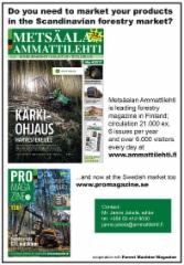 Ammattilehden ilmoitus Forest Machine Magazinessa maaliskuu 2018 - Brittein saarten alueen vahva metsäkonelehti