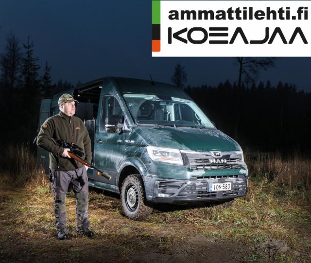 """AMMATTILEHTI KOEAJAA: MAN TGE 3.180 2.0 TDI 4X4 """"Jaeger Van"""" - Metsästäjän unelmapeli"""