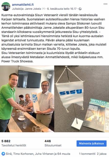 Sisu Veteraanit kiitti Ammattilehden Janne Jokelaa vuosikymmenten yhteistyöstä Sisu Auton kanssa