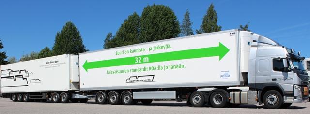Maltillinen vetoauto, akseliston mitoituksen osalta räätälöity ensimmäinen perävaunu ja kevyt sekä edullinen standardiperävaunu viimeisenä on varmasti standardi ratkaisu tulevaisuudessa, kun haetaan kustannustehokkaasti päästövähennyksiä