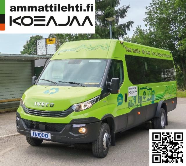 AMMATTILEHTI KOEAJAA: Iveco Daily 65C14 CNG seutu-/koulubussi - Mennään biokaasubussilla