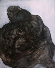 Sarjasta pimeä liha, öljy mdf-levylle, 150x120 cm