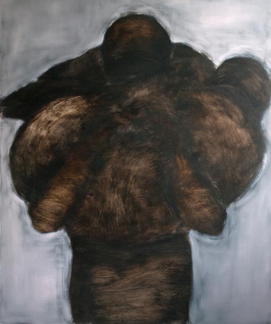 Pimeä kantaja, öljy vanerille, 180x150 cm
