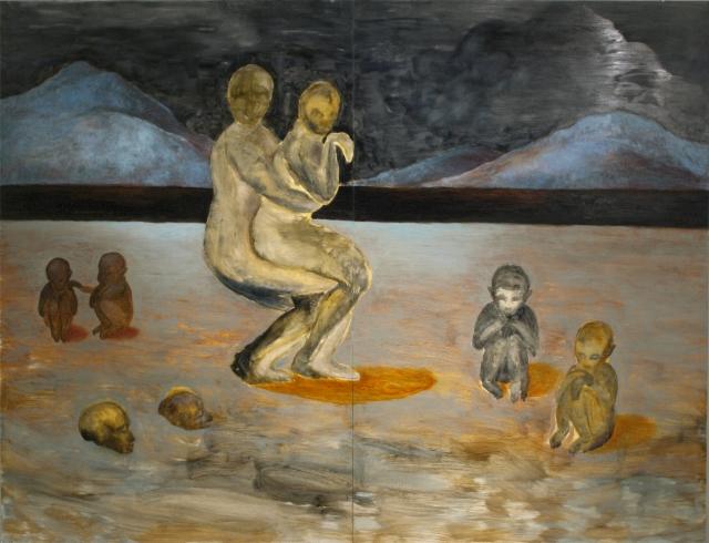Oudot vaeltajat, öljy mdf-levylle, 200x260 cm