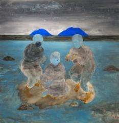 Kognitiivisen vallankumouksen jälkeläiset, öljy mdf-levylle, 180x175 cm