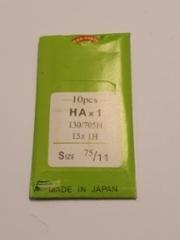 Ompelukoneen neula Organ Needles 10 kpl/paketti (HAx1 130/705H 15x 1 size 75/11 made in japan) (suora reuna kotikoneisiin) hinta 3,50 euroa paketti