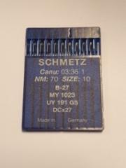 Ompelukoneen neula SCHMETZ 10 kpl/paketti (Canu: 03:36 / 1 NM / 70 size 10 / B-27 MY1023 UY / 191 GS / DCx27) Made in Germany (pyöreä kanta teollisuus koneisiin) hinta hinta 3,50 euroa paketti