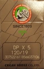 Ompelukoneen neula Organ Needles 10 kpl/paketti (DPx5 / 120/19 / 134R/1955 size 120/19) (made in japan) (pyöreä kanta teollisuus koneisiin paksu soveltuu kivi nauhojen ompeluun ) hinta hinta 3,50 euroa paketti