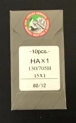 Ompelukoneen neula Organ Needles 10 kpl/paketti (HAx1 130/705H 15x 1 size 80/12 made in japan) (suora reuna kotikoneisiin) hinta 3,50 euroa paketti