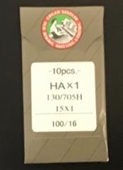 Ompelukoneen neula Organ Needles 10 kpl/paketti (HAx1 130/705H 15x 1 size 100/16 made in japan) (suora reuna kotikoneisiin) hinta 3,50 euroa paketti