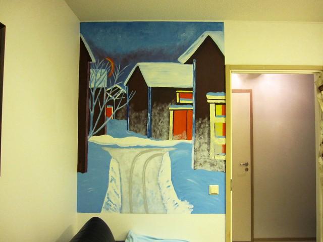 talvimaisema,seinämaalaus
