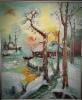 Talvinen auringonlasku joki ja talo(Klever)